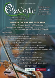 Teachers CPD, EPV Days, DES approved, Traditional Music SUmmer School, Ceol na Coille, Coláiste Ailigh, Letterkenny, Donegal, WAW, Wild Atlantic Way,