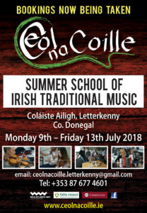 Ceol na Coille Summer School, 2018, Traditional music, Fiddle, Uilleann Pipes, Banjo, Bodhrán, Whistle Flute Donegal, Guitar, Letterkenny, Donegal